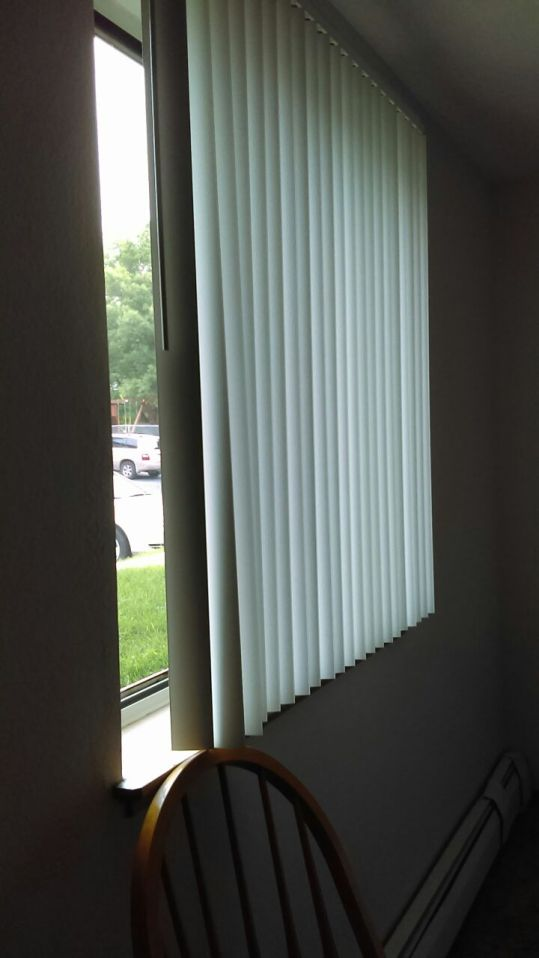 Right now I just have boring blinds. This is where the curtains will go when they are finished.